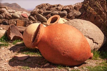 earthenware, jug, for wine, qvevri, Georgia Foto de archivo