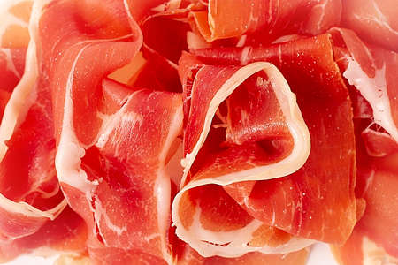 Prosciutto Parma, on a white background, top view, horizontal, no people,