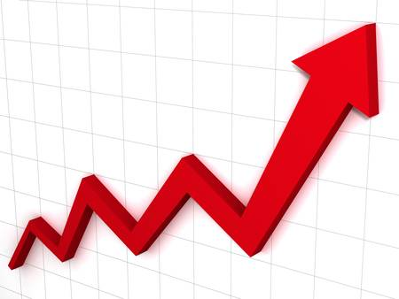 Red arrow graph Stock Photo - 12432389