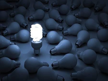 eficiencia: Eco de energ�a bombilla de ahorro, un brillante eco bombilla fluorescente compacta de pie fuera de las bombillas incandescentes sin luz o el concepto de la individualidad