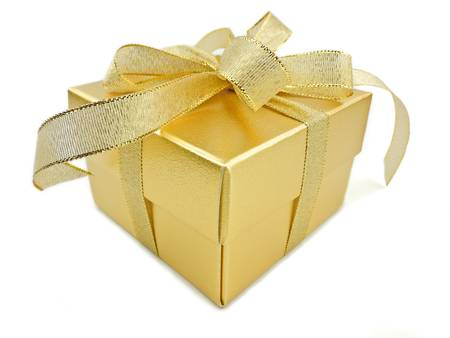 Gold gift box with golden ribbon on white background photo