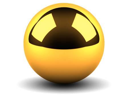 poolball: Golden sphere on white background
