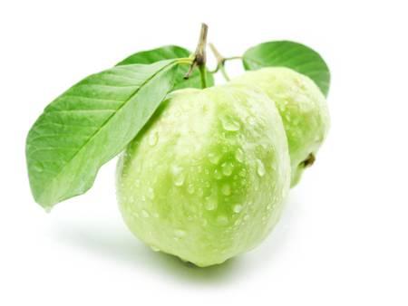 Guaven mit Blättern auf weißem Hintergrund Standard-Bild