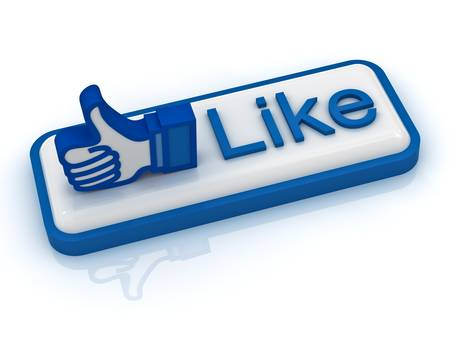 Like button with thumbs up on white background