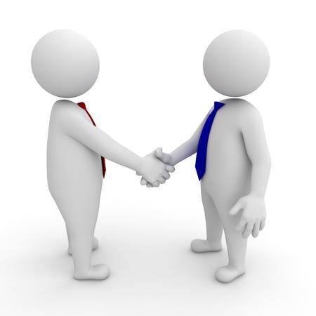 Uomini d'affari 3d si stringono la mano su sfondo bianco