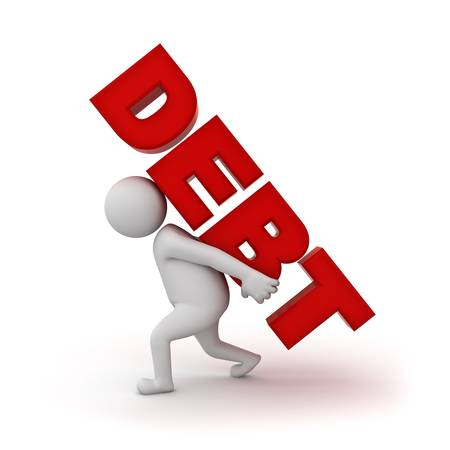 burden: 3d man carrying word debt on his back isolated on white background