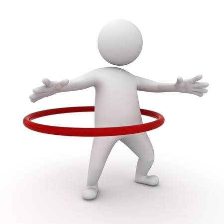 3d man playing hoop exercise on white background photo