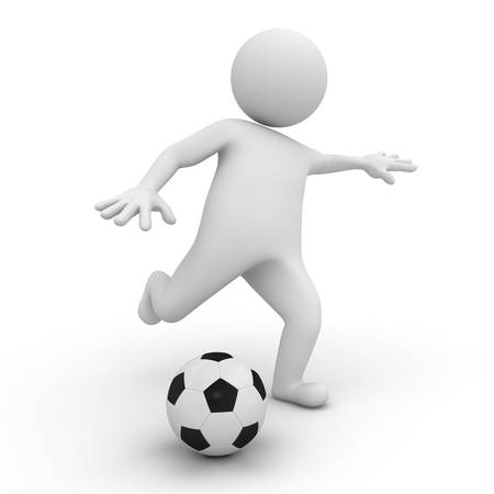 football kick: 3d man playing soccer or football on white background