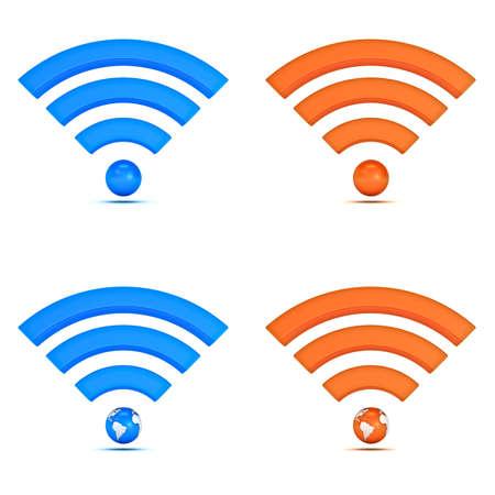 3d wifi colección de iconos aislados sobre fondo blanco Foto de archivo