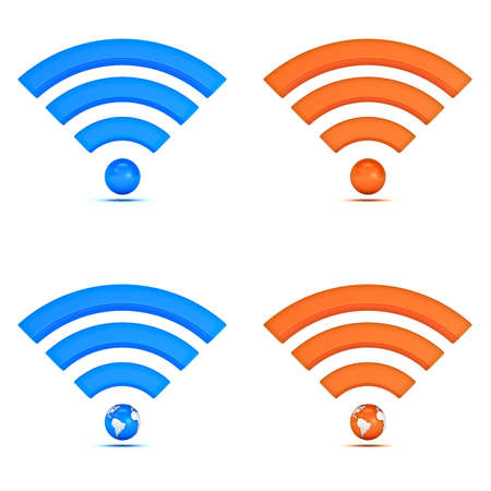 digital signal: 3d wifi icon collection isolated on white background