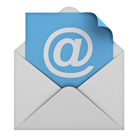 buzon: Concepto de correo electrónico aisladas sobre fondo blanco