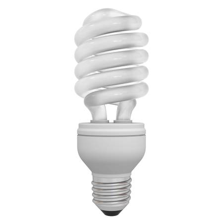 Eco energy saving compact fluorescent light bulb isolated on white background photo