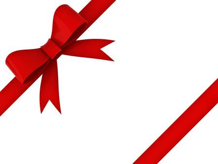 Red gift ribbon bow isolated on white background photo
