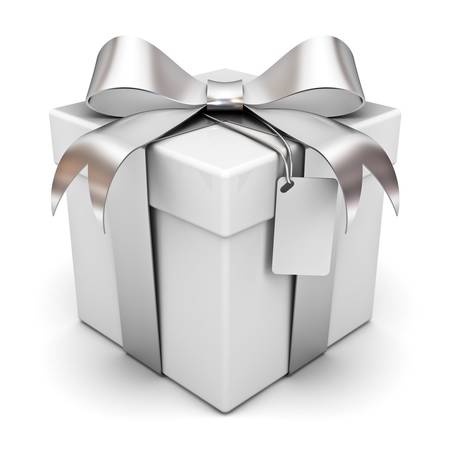 Contenitore di regalo d'argento arco del nastro e tag vuoto isolato su sfondo bianco