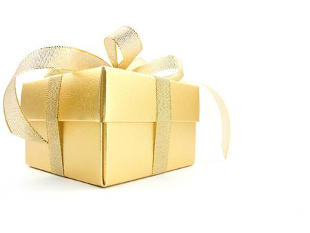 gold christmas decorations: Gold gift box with golden ribbon isolated on white background