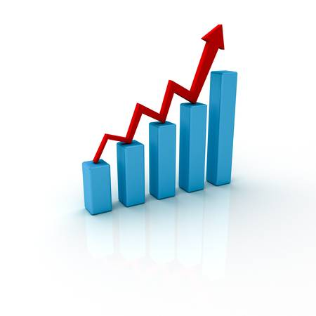 Growth business graph with rising arrow photo