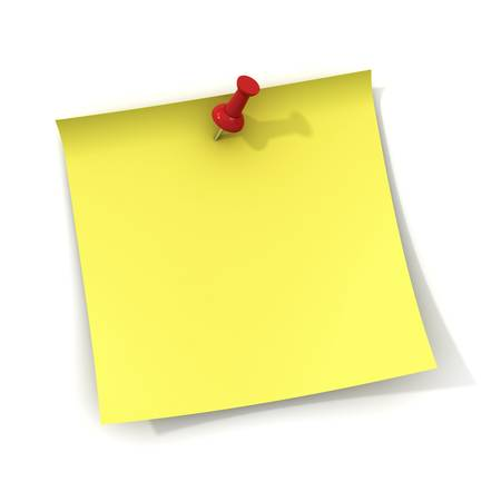pin board: Yellow sticky note and red push pin isolated on white background with shadow