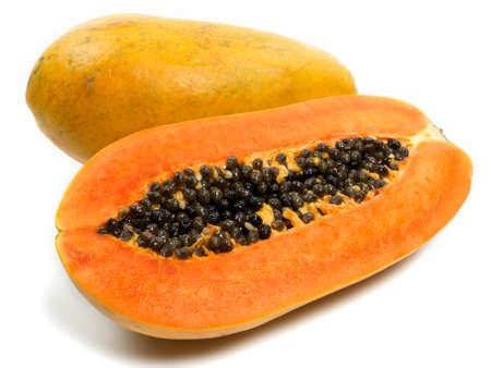 papaya tree: Papaya on white background