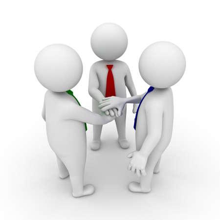 la union hace la fuerza: Equipo de negocios de unirse concepto de las manos sobre fondo blanco