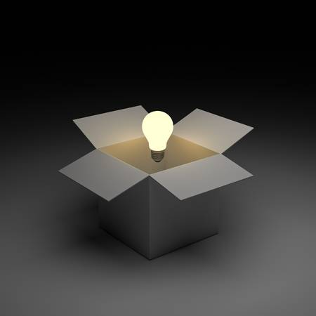 phrases: Think out of the box or thinking outside the box concept, Glowing light bulb float over opened cardboard box