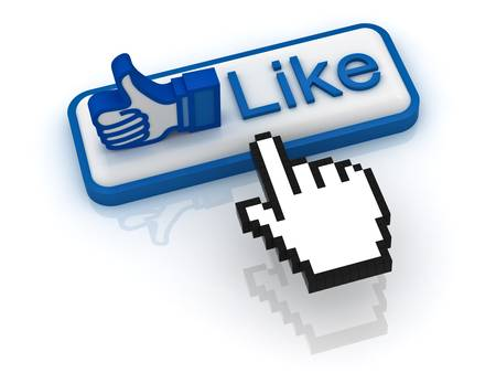 Like button with hand cursor on white background photo