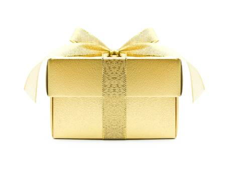 packets: Gold gift box on white background