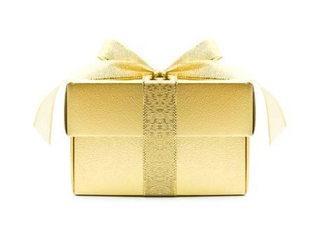 colour box: Gold gift box on white background