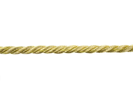 gold string: Gold rope on white background