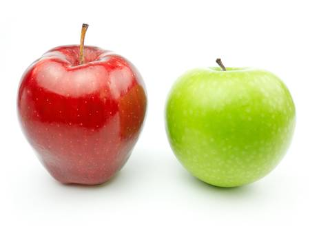 red apples: Green and Red Apples on white background