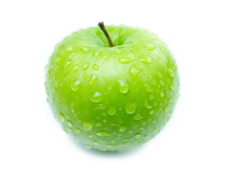 apfel: Grüner Apfel Schweiß auf weißem Hintergrund