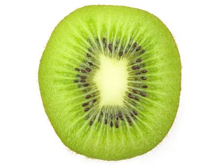 Kiwi fruit slice on white background photo