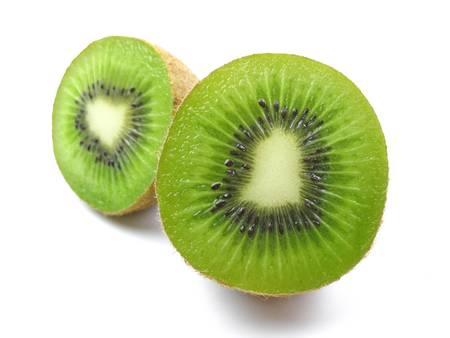 Kiwi fruit cut on white background