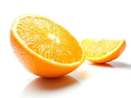 Orange with shadow and reflection on white background photo