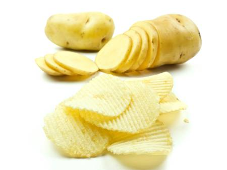 Potato chips concept on white background photo
