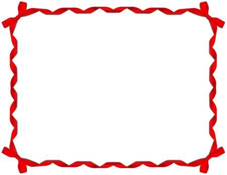 marco cumplea�os: Marco rojo de la cinta con el arco sobre fondo blanco