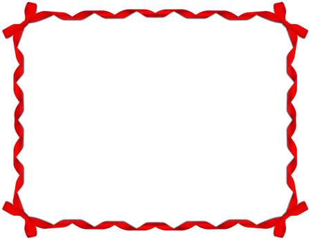 Red Ribbon Frame with Bow on white background  photo