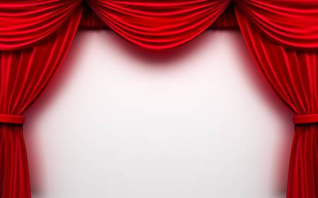 drape: Red curtain frame
