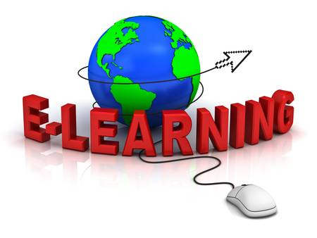 E-learning concept on white background photo