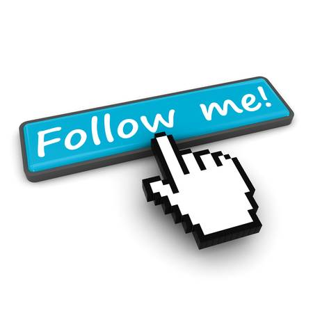 follow: Follow me button on white background