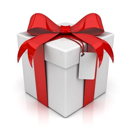 Gift box with blank tag isolated on white background photo