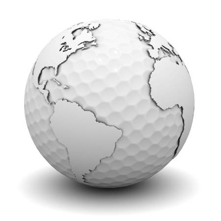 world  hexagon: Golf World Concept on white background Stock Photo