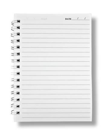 nota de papel: Cuaderno de papel sobre fondo blanco Sombra W ITH