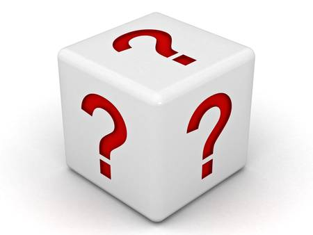 probable: Question mark dice on white background Stock Photo