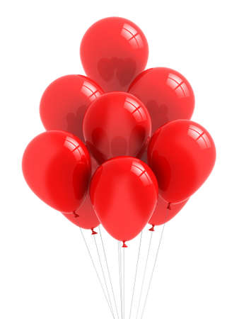 Red Balloons on white background photo