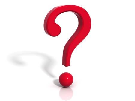 punto di domanda: Punto interrogativo con ombra su sfondo bianco