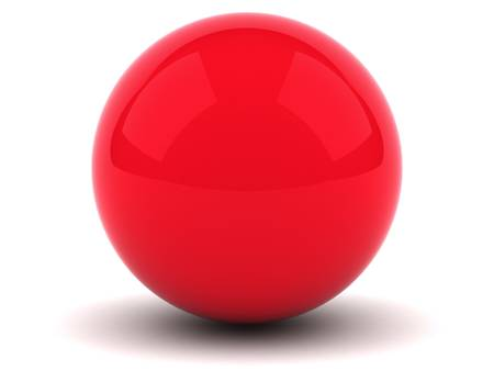Red sphere on white background photo