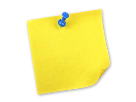 Yellow sticky note with blue pin on white background photo