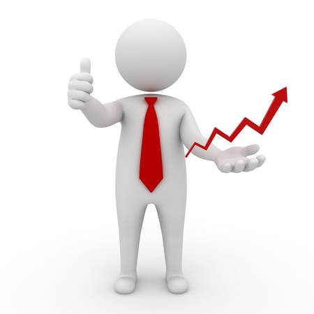 ingresos: Concepto de negocio exitoso hombre de negocios 3d pulgares para arriba con la flecha roja en aumento en la mano aisladas sobre fondo blanco Foto de archivo