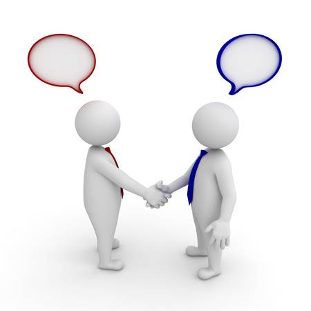 two men talking: 3d businessmen shaking hands with speech bubbles on white background Stock Photo