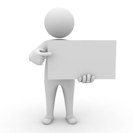 3d man holding blank board and pointing at it on white background photo